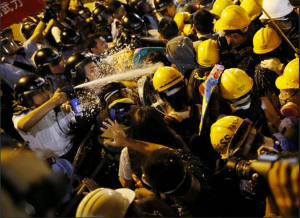 protesters clash with cops in hong kong